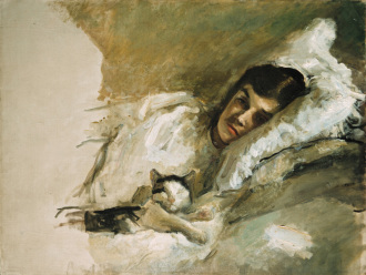 Max Slevogt (1868 - 1932) seine Frau Nini mit Katze