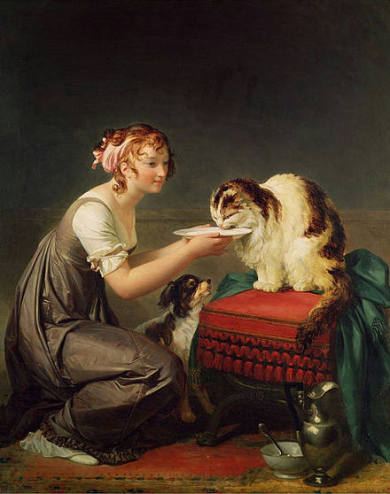 Marguerite Gérard (1761 - 1837) the cat's lunch
