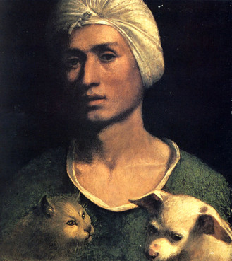 Dosso Dossi (1486 - 1541) Portrait of a young man with a dog and a cat