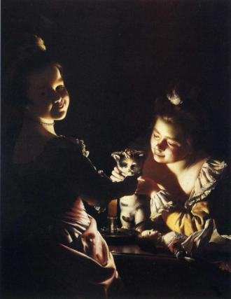 Joseph Wright of Derby (1734 - 1797) two girls dressing a kitten by candellight