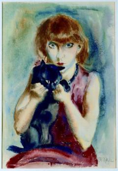 Rudolf Schlichter (1890 - 1955) meine Frau mit Katze