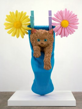 Jeff Koons / cat on a clothesline