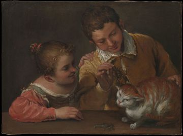 Annibale Carracci geb. 3.Nov. 1560 in Bologna - gest. 15.Juli 1609 in Rom /two children teasing a cat