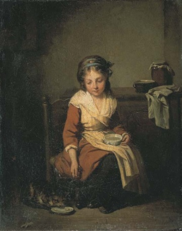 Etienne Aubry (1746 - 1781) girl with cat