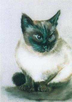 Oscar Pereira da Silva (1865 - 1939) Helena's cat / Brazilian painter