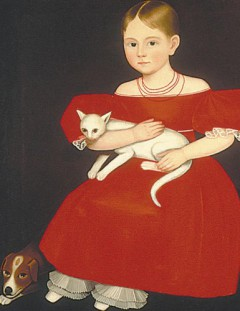Ammi Phillips (1788 - 1865) American painter /girl with a cat and dog