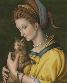 Francesco BACCHIACCA (1494 - 1557) young woman holding a cat