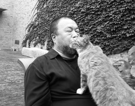 Ai Weiwei with one of his 40 cats