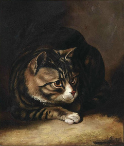 Horatio Couldery (1832 - 1893) tabby cat