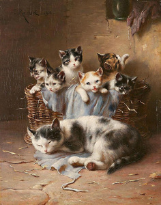Carl Reichert (1836 - 1918) mother and kittens