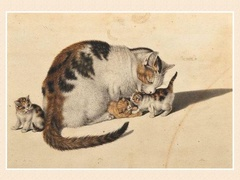 Gottfried Mind (1768 - 1814) mother cats with 3 kittens