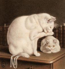 Gottfried Mind (1768 - 1814) two white cats