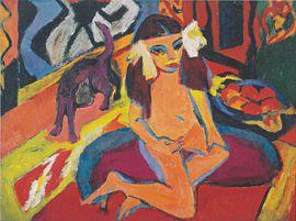 Ernst Ludwig Kirchner (1880 - 1938) Mädchen mit Katze /Fränzi