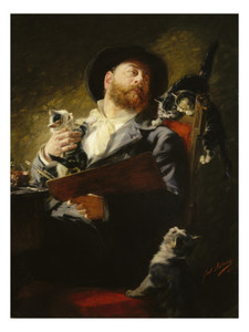 Julius Adam Selbstportrait mit Katzen
